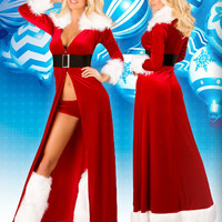 3pc Sexy Miss Claus (Incl. Stretch Velvet Long Robe with Faux Fur Trim Detail, Detachable Belt & Shorts)
