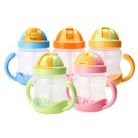 Cute Baby Cup Kids Children Learn Feeding Drinking Water Straw Handle Bottle Sippy Training Cup Baby Feeding Cup
