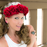 Red Rose Flower Crown, Flower Headband, Hair Wreath, Bridal Headband, Holiday Clothing, SnowGlobe, Fun Fun Fun Fest, Coachella Crown, PLUR
