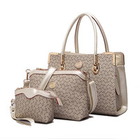 Women's Elegant 3Pcs Tote Bag Pu Leather Purse Handbag Set (Light Grey)