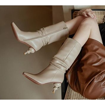 Women Genuine Leather Mid Calf Fashion Heel Boots