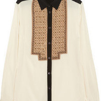 Etro | Beaded stretch-silk blouse | NET-A-PORTER.COM