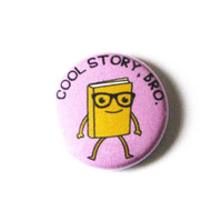 Cool Story Bro Book Buttons Cute Geeky Pins Book Geek Glasses Purple Accessories Library Buttons Librarian Pinback Buttons