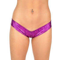 Holographic Plunge Low Rise Rave Booty Shorts