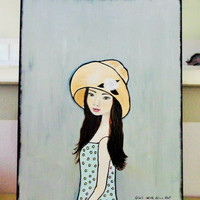 Girl Portrait- Original Painting on Canvas- Mixed Media on Canvas- Yellow Hat Art- 16X20 inches.