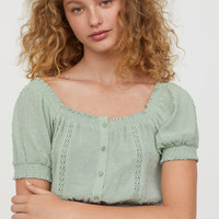 Textured-weave Blouse - Dusky green - Ladies | H&M CA