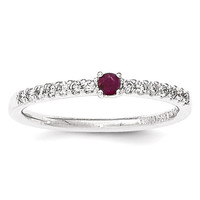 14K White Gold Diamond And Ruby Solitaire Ring
