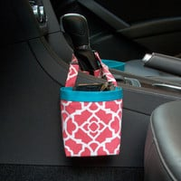 Car Cellphone Caddy ~ Blossom Lattice ~ Turquoise Band ~ Center Console Handle