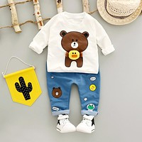 Bear Print Baby Boy Outfit