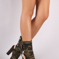 Camo Print Lace Up Booties