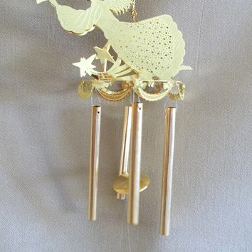 Vintage Engraved Brass Herald Angel Wind Chime, Christmas, Tree Ornament, Holiday Decor, Family Gift, Traditional, Christian, Musical, Cute