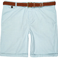 River Island MensLight blue rolled up chino shorts