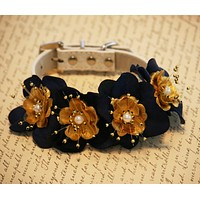 Navy and Gold Floral Dog collar Pet Wedding, Navy and Gold Wedding, Dog Lovers , Wedding dog collar