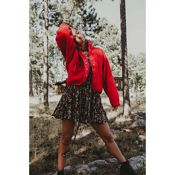 Free People: Hit The Slopes Fleece- Red