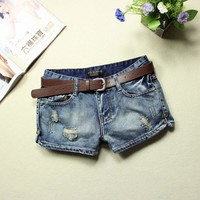 2018 jeans womens summer low waist blue ripped washed short jeans feminino placketing hole pantalones cortos mujer jeans shorts