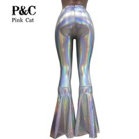 ONETOW vintage Leggings Clothing Women Silver Holographic Flare Bell Bottom Pants  Leggings Rave Festival Clothes Outfits
