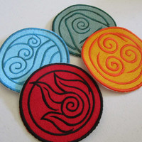 Avatar last Airbender/Legend of Korra elements Set of 4 Sew on machine embroidered patches