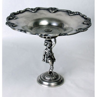 A. A. Importing 51359 Antique Silver Child with Tray