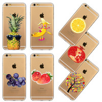 New Arrival Fruits Strawberry Lemon  Pineapple Pattern Ultra Thin TPU Soft Transparent Phone Back Case Cover For Iphone 6 6s