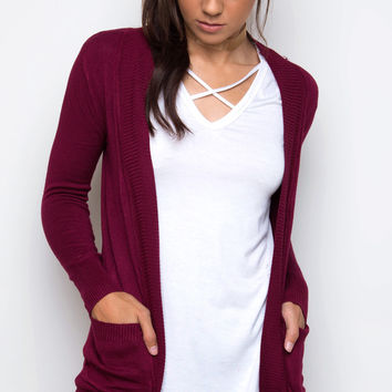 Harper Cardigan in Burgundy