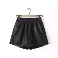 Black Leather High-Waisted Shorts