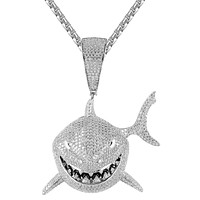 White Big Shark Face Icy 3D Rapper Custom Pendant Chain