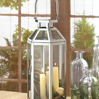 Geometric Symmetry Framework Stainless Steel Candle Lantern