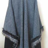 Winter Poncho,  Gray-Blue Poncho in Faux Fox Fur,  Delicate Wool Cape,Oversize Womens Clothing,HandmadebyNadya