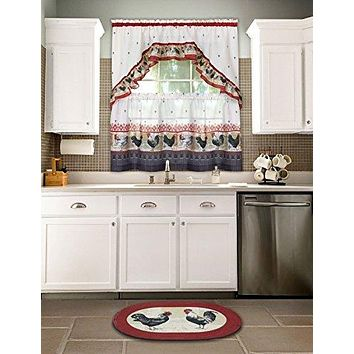 Ben&Jonah Collection Rooster - Printed Tier and Swag Window Curtain Set - 57x36 - Burgundy