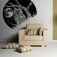 Vinyl Wall Decal Sticker Owl and the Moon #OS_AA1557