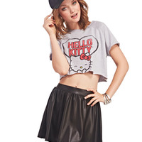Gray Hello Kitty Print Crop Tank Tee