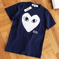 Comme des Garcons Play Summer Women Men Leisure Short Sleeve T-Shirt Top