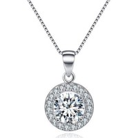 Round Halo Crystal Pendant Necklace