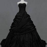 Strapless Semi-Sweetheart Taffeta Ballgown with Pleats and Pick-Ups