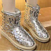 New style hot fashion plus velvet warmth thick-soled rivet mid-tube boots