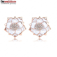 LZESHINE  Free Shipping Enamel Earrings Rose Gold Color SWA Elements Crystal Flower Stud Earrings Wedding ER0287-A