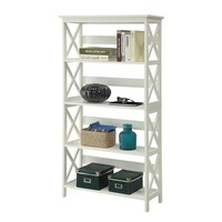 Glossy White 5-Shelf Bookcase