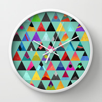 Colorful triangles Wall Clock by Elisabeth Fredriksson