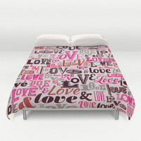 Duvet Love Retro Vintage Word Script Fonts Typography Pink Shades of Pink  Full Queen King Bed Spread