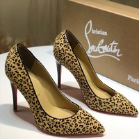 Christian Louboutin red sole classic rivet Roller Boat CL high heel boots for women top quality yellow
