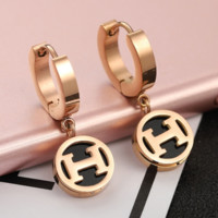 Hermes New Fashion Earrings Accessories women Golden