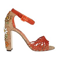 Dolce & Gabbana Orange Leather Cork Crystal Sandals