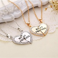 "Fashion Heart Rhinestone ""Best Friends"" Letters Two Parts Pendant Necklace New Jewelry Gift"