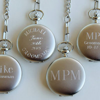 Personalized Brushed Silver Pocket Watch - Groomsmen Gift - Fathers Day Gift - Wedding Party Gift - Best Man Gift