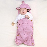 born Baby Blanket Wrap Swaddle Kids borns Wool Knit Blanket Swaddle Sack Stroller Wrap For Baby Bed Linens