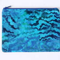 Blue & Green Clouds Batik Lined Zipper Pouch 100% Cotton