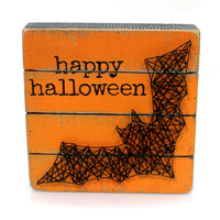 Halloween BAT BOX SIGN Wood String Art 35827
