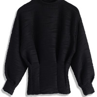 Embossed Black Top with Puff Sleeves Black S/M