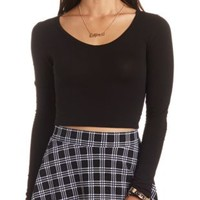 V-Neck Long Sleeve Crop Top by Charlotte Russe