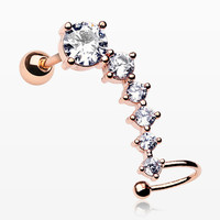 Rose Gold Sparkle Tiered Journey Cartilage Barbell with Hoop